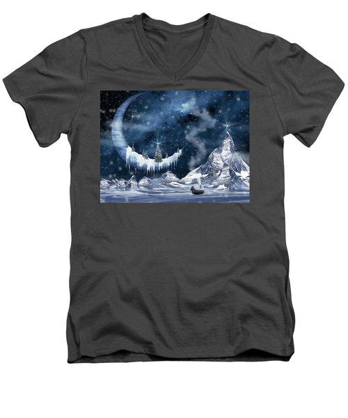 Winter Moon Men's V-Neck T-Shirt by Mihaela Pater