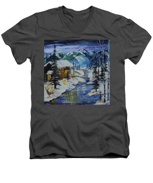 Winter Mountains Men's V-Neck T-Shirt