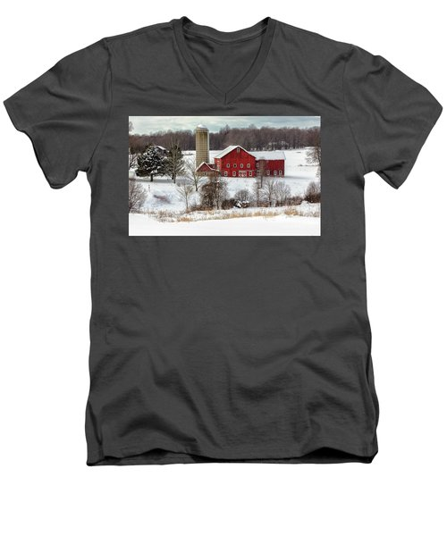 Winter On A Farm Men's V-Neck T-Shirt