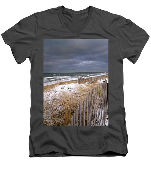 Winter On Cape Cod Men's V-Neck T-Shirt by Charles Harden