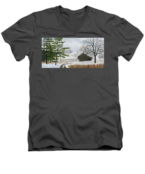 Winter On Hill Crystal Farm Men's V-Neck T-Shirt