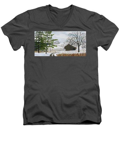 Winter On Hill Crystal Farm Men's V-Neck T-Shirt