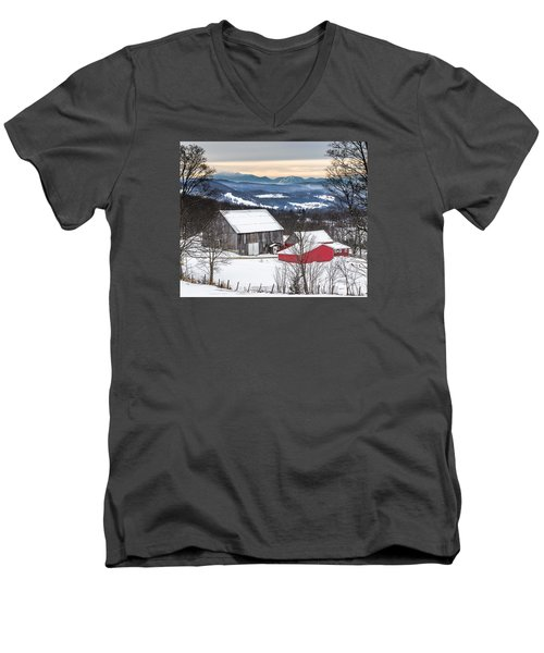 Winter On The Farm On The Hill Men's V-Neck T-Shirt