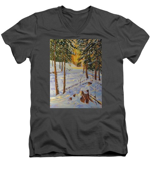 Winter On The Lane Men's V-Neck T-Shirt by David Gilmore