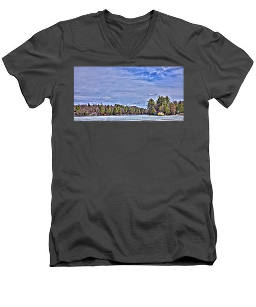 Men's V-Neck T-Shirt featuring the photograph Winter On The Pond by David Patterson