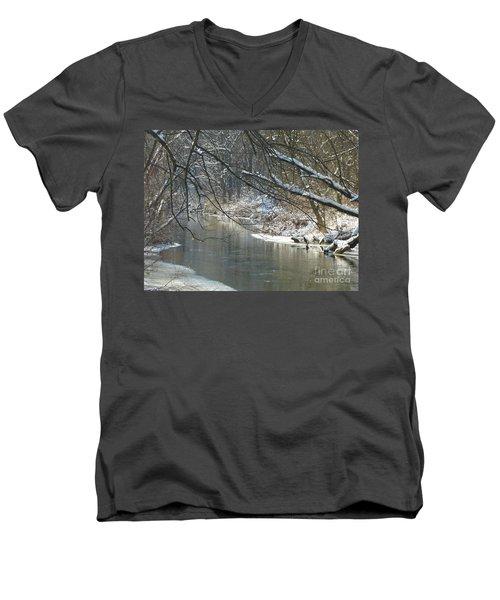 Winter On The Stream Men's V-Neck T-Shirt