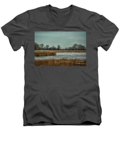 Winter On The Water Men's V-Neck T-Shirt by Tamera James