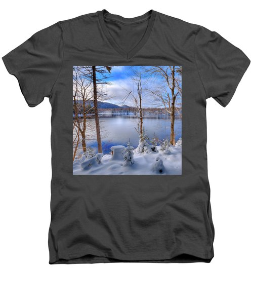 Winter On West Lake Men's V-Neck T-Shirt by David Patterson