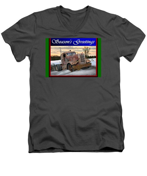 Winter Pete Season's Greetings Men's V-Neck T-Shirt by Stuart Swartz