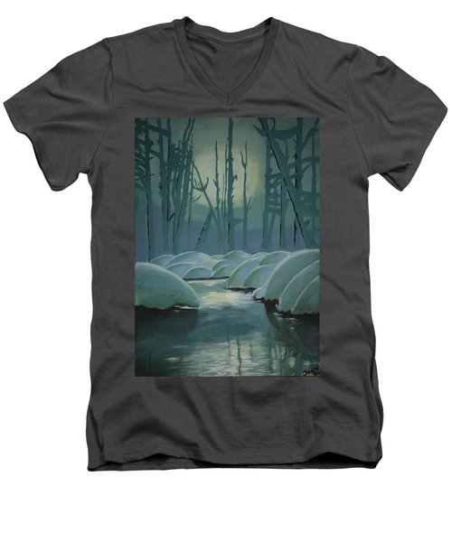 Men's V-Neck T-Shirt featuring the painting Winter Quiet by Jacqueline Athmann