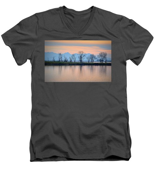 Men's V-Neck T-Shirt featuring the photograph Winter Reflections by AJ Schibig