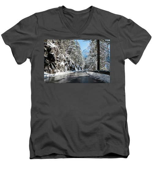 Men's V-Neck T-Shirt featuring the photograph Winter Road by Sergey Simanovsky