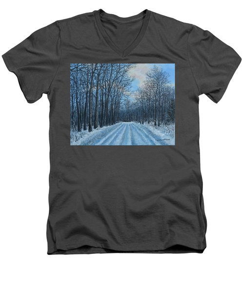 Winter Road To The Gas Well Men's V-Neck T-Shirt