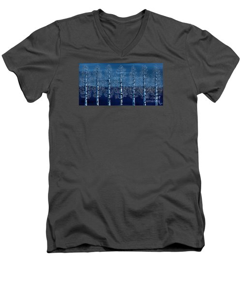 Men's V-Neck T-Shirt featuring the painting Winter Shadows by Rebecca Parker