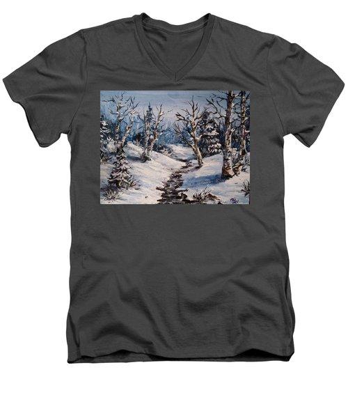 Winter Silence Men's V-Neck T-Shirt by Megan Walsh