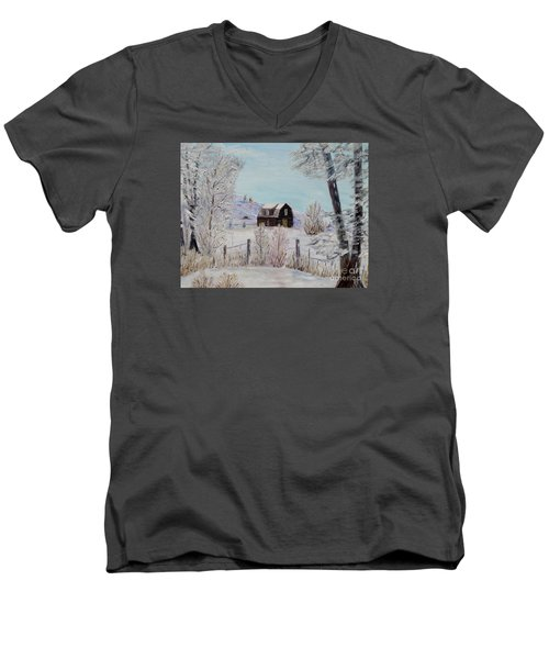 Men's V-Neck T-Shirt featuring the painting Winter Solace by Marilyn  McNish