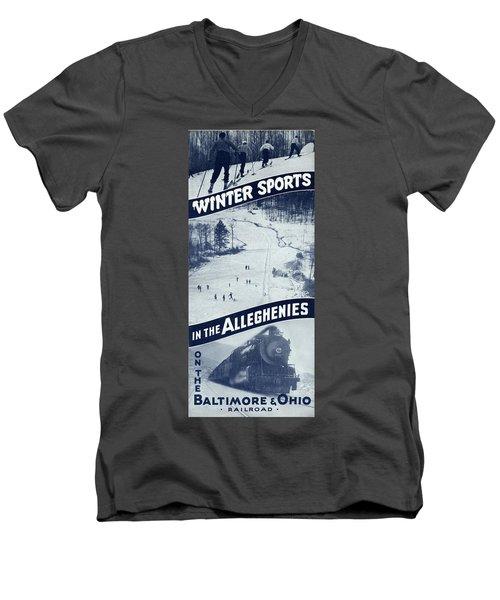 Winter Sports In The Alleghenies Men's V-Neck T-Shirt