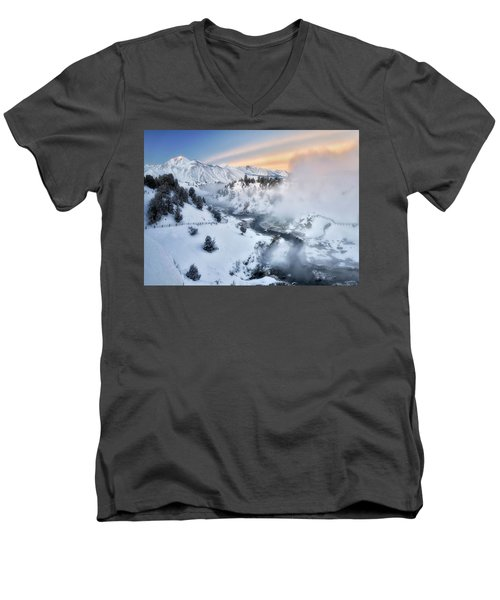 Winter Steam  Men's V-Neck T-Shirt by Nicki Frates