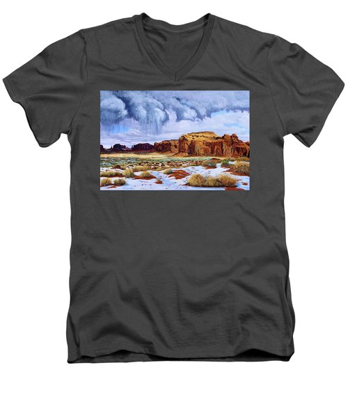 Winter Storm In Mystery Valley Men's V-Neck T-Shirt