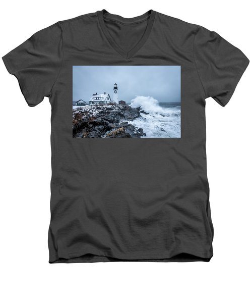 Winter Storm, Portland Headlight Men's V-Neck T-Shirt