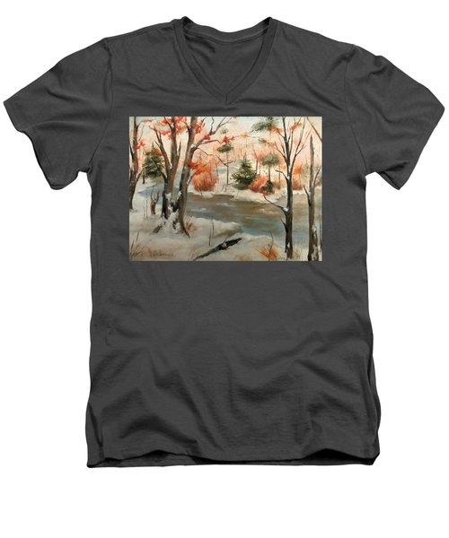 Men's V-Neck T-Shirt featuring the painting Winter Stream by Roseann Gilmore