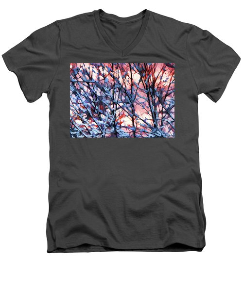 Winter Sunrise Men's V-Neck T-Shirt by Betsy Zimmerli