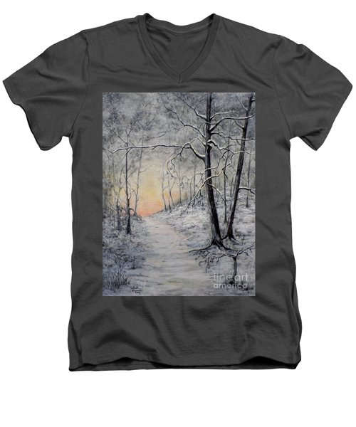 Men's V-Neck T-Shirt featuring the painting Winter Sunset by Judy Kirouac
