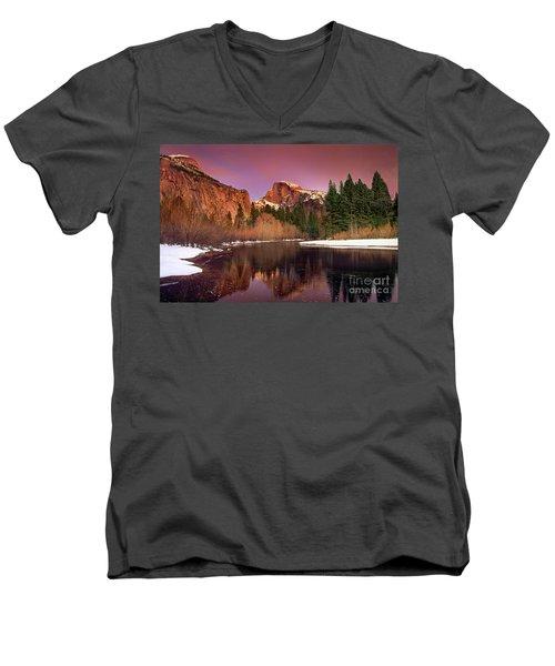 Winter Sunset Lights Up Half Dome Yosemite National Park Men's V-Neck T-Shirt