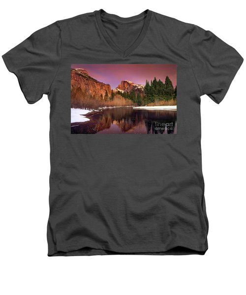 Men's V-Neck T-Shirt featuring the photograph Winter Sunset Lights Up Half Dome Yosemite National Park by Dave Welling
