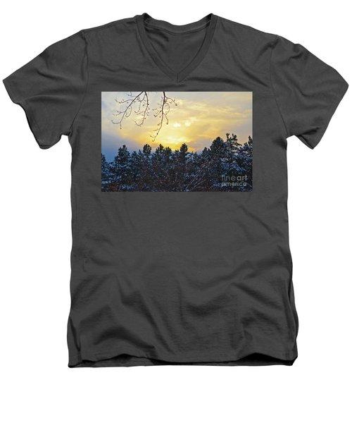 Winter Sunset On The Tree Farm #1 Men's V-Neck T-Shirt