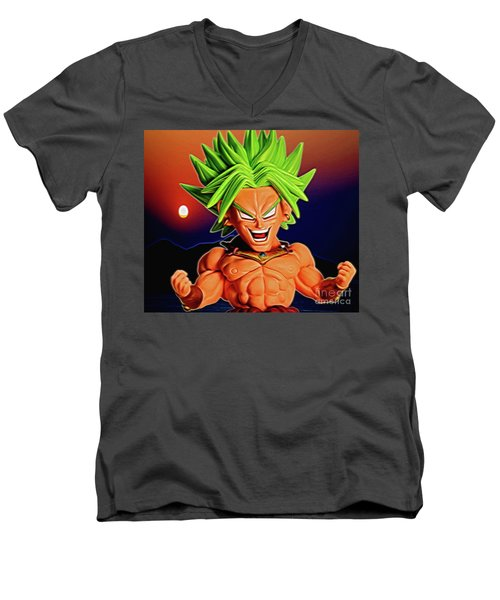 Men's V-Neck T-Shirt featuring the digital art Sunset Ss Broly by Ray Shiu