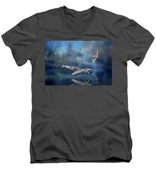 Winter Swans Men's V-Neck T-Shirt by Brian Tarr