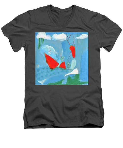 Winter Thunder Men's V-Neck T-Shirt by Donna Blackhall