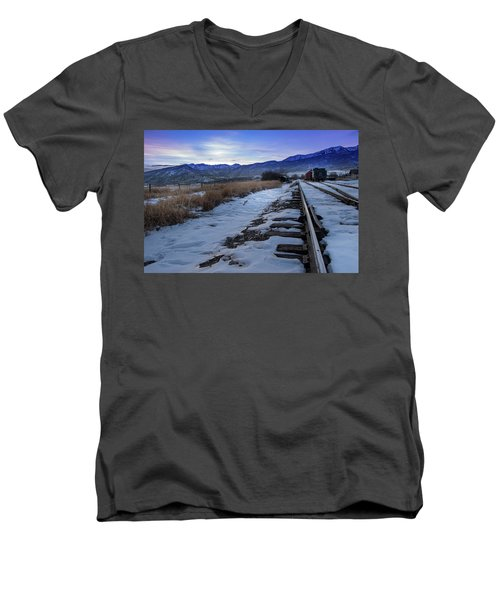 Winter Tracks Men's V-Neck T-Shirt