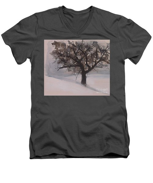 Men's V-Neck T-Shirt featuring the painting Winter Tree by Laurie Rohner