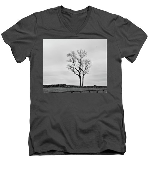 Winter Trees And Fences Men's V-Neck T-Shirt by Nancy De Flon