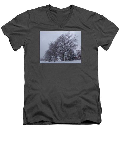 Winter Trees In Sea Girt Men's V-Neck T-Shirt by Melinda Saminski