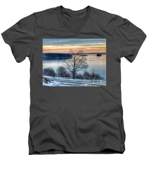 Winter Twilight At Fort Allen Park Men's V-Neck T-Shirt