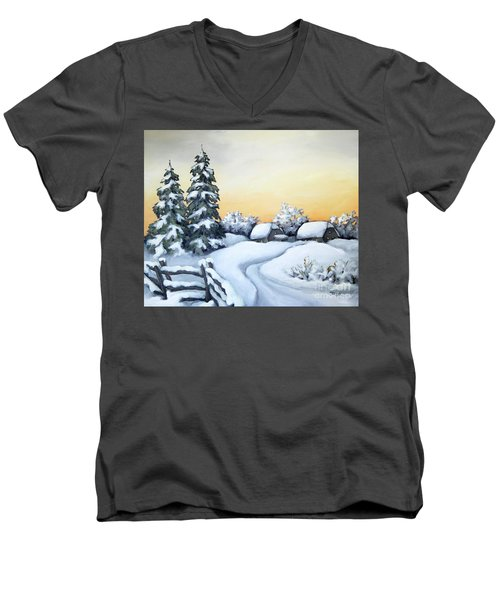 Men's V-Neck T-Shirt featuring the painting Winter Twilight by Inese Poga