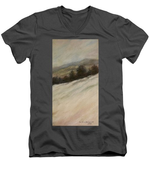 Men's V-Neck T-Shirt featuring the painting Winter Twilight by Kathleen McDermott