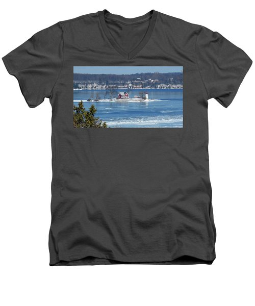 Winter View Of Crossover Island Men's V-Neck T-Shirt
