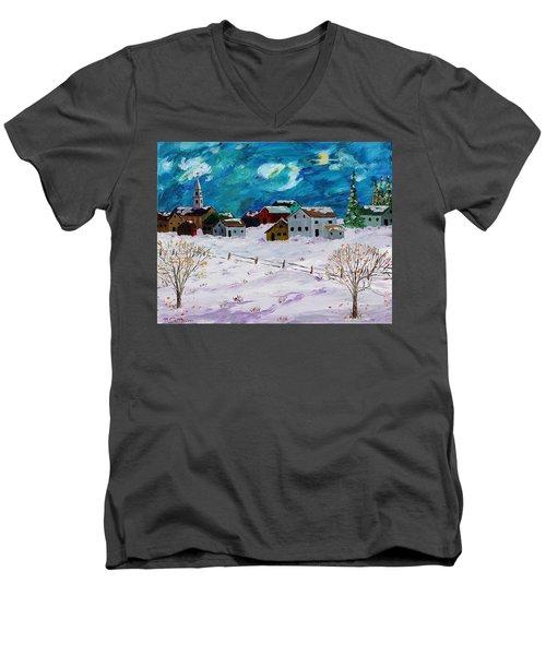 Winter Village Men's V-Neck T-Shirt by Mike Caitham