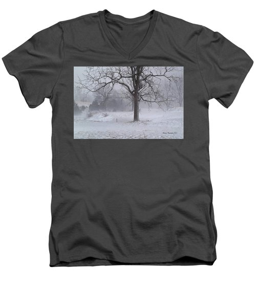 Men's V-Neck T-Shirt featuring the photograph Winter Walnut by Denise Romano