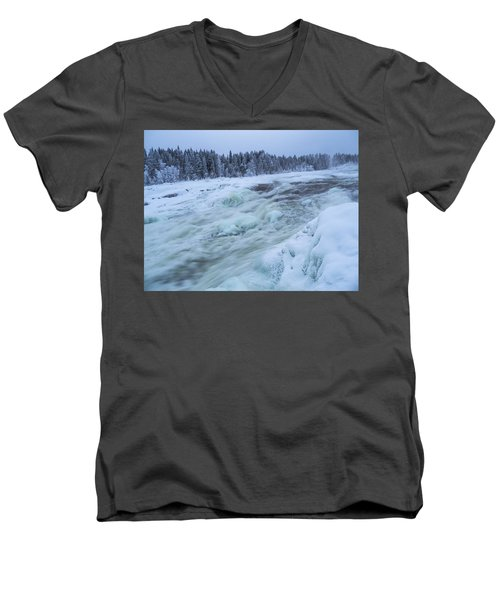 Winter Waterfall Men's V-Neck T-Shirt by Tamara Sushko