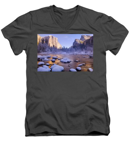 Men's V-Neck T-Shirt featuring the photograph Winter Wonderland by Vincent Bonafede