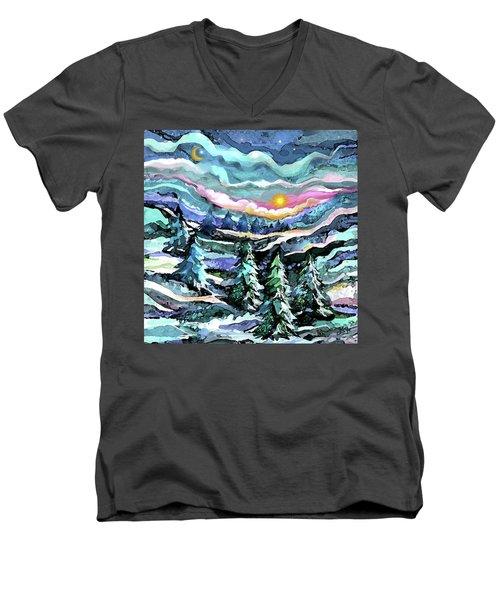 Winter Woods At Dusk Men's V-Neck T-Shirt
