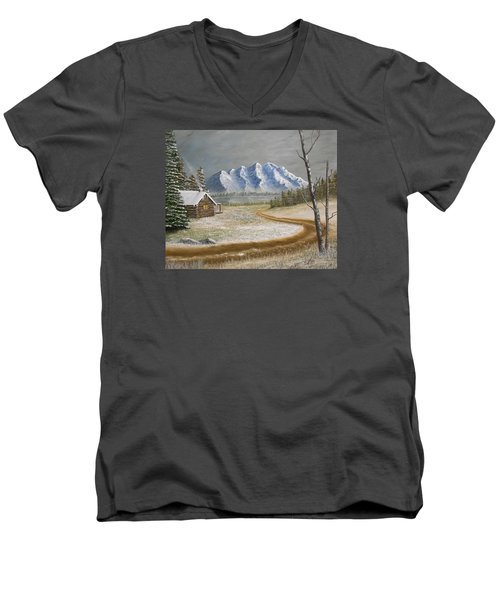 Men's V-Neck T-Shirt featuring the painting Winter's Arrival by Sheri Keith