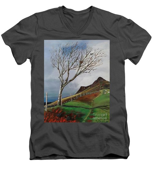 Winter's Day At Yewbarrow -painting Men's V-Neck T-Shirt