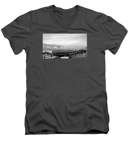 Men's V-Neck T-Shirt featuring the photograph Winter's Icy Grip On Lighthouse Ann Arbor Park by Mark J Seefeldt