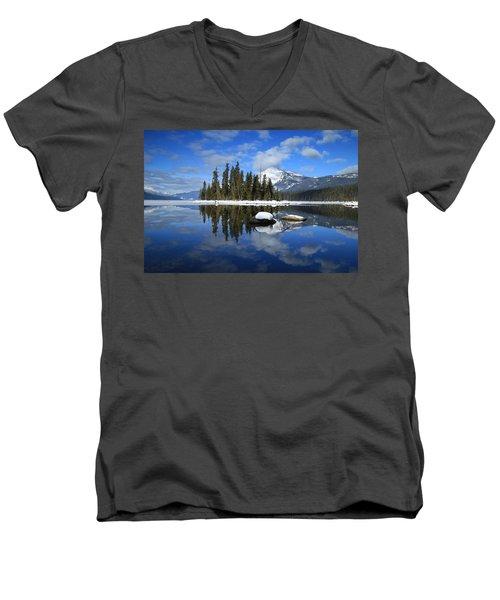 Winters Mirror Men's V-Neck T-Shirt by Lynn Hopwood
